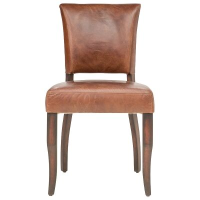 Toton Aged Leather Dining Chair