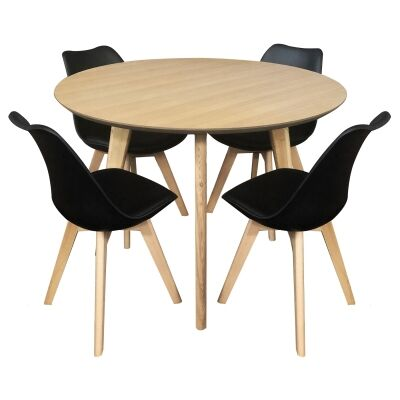 Alexandria 5 Piece Round Dining Table Set, 110cm, with Black Morrison Chair