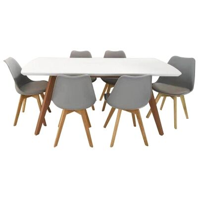 Alexandria 7 Piece Dining Table Set, 180cm, White Top, with Grey Morrison Chair