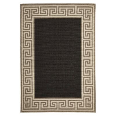 Alfresco Adonis Egyptian Made Outdoor Rug, 270x180cm, Charcoal / Tan
