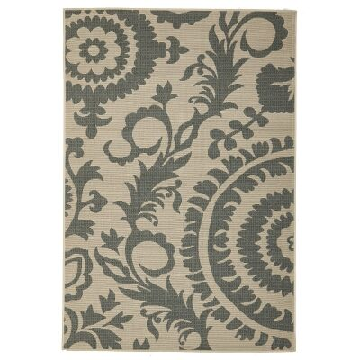 Alfresco Royal Egyptian Made Outdoor Rug, 160x110cm, Steel / Beige