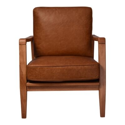 Trent Leather & Timber Buckle Armchair, Brown