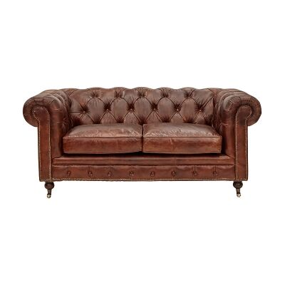 Kensington Aged Leather Chesterfield Sofa, 2 Seater, Worn Coal