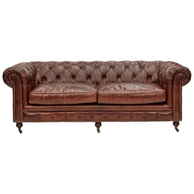 Kensington Aged Leather Chesterfield Sofa, 3 Seater, Vintage Brown