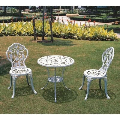 Vines Pattern Cast Aluminum 3-piece Outdoor Table Set in White