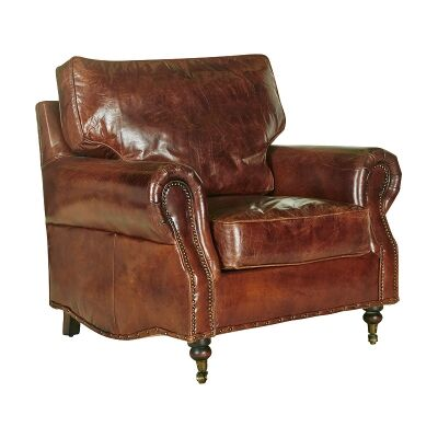 Jesmond Aged Leather Armchair