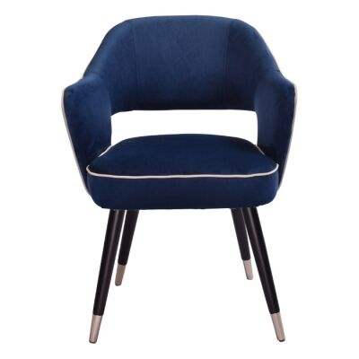 Harby Velvet Fabric Dining Armchair, Navy