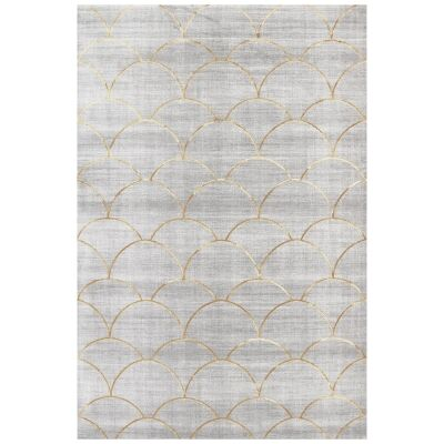 Alyssum Mann Modern Rug, 230x160cm, Grey / Gold / Fish Scale