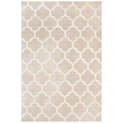 Alyssum Trellis Textured Modern Rug, 290x200cm, Cream / White