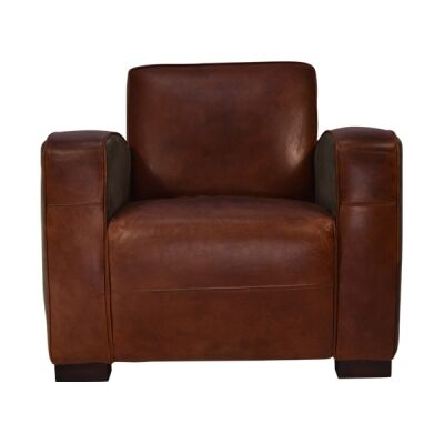 Bingham Aged Leather & Velvet Fabric Armchair