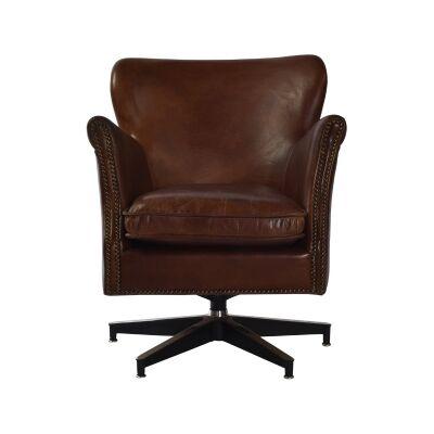 Keller Aged Leather Swivel Armchair, Cigar