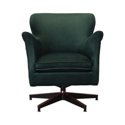 Keller Velvet Fabric Swivel Armchair, Emerald