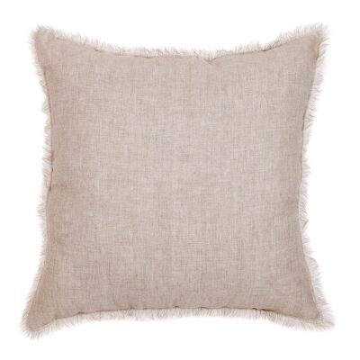 Winona Fringed Linen Euro Cushion, Beige