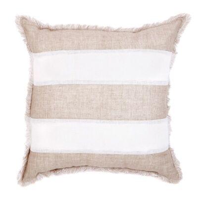 Winona Fringed Linen Euro Cushion, Striped Beige