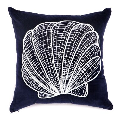 Stella Hand Embroidered Sea Shell Velvet Scatter Cushion