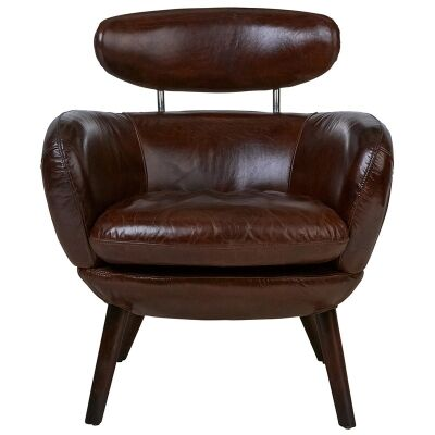 Salon Aged Leather Armchair