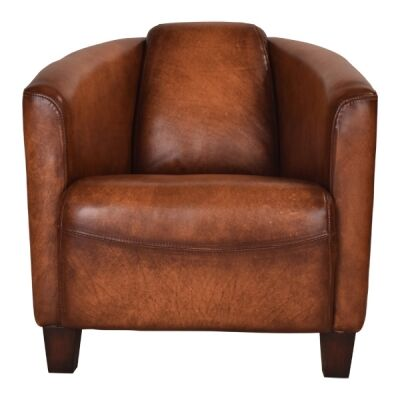 Vancouver Aged Leather Armchair, Toffee