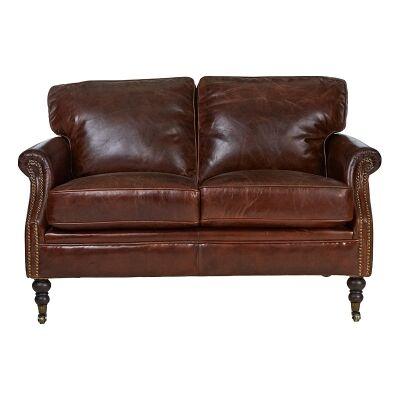 Edinburgh Aged Leather Sofa, 2 Seater