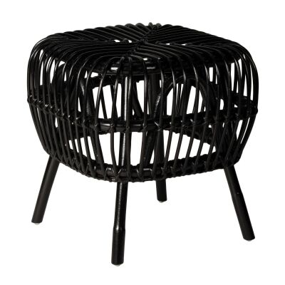 Norman Rattan Side Table, Black