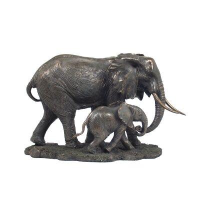 Cast Bronze Wild Life Figurine, Mother Elephant and child
