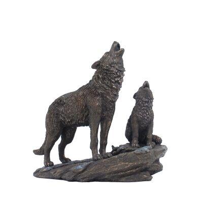 Cast Bronze Wild Life Figurine, Mother Wolf and child
