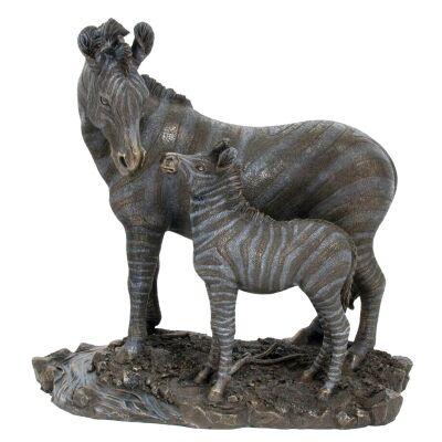 Veronese Cold Cast Bronze Coated Wild Life Figurine, Mother Zebra and child