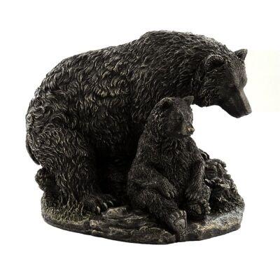 Cast Bronze Wild Life Figurine, Mother Bear and child