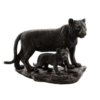 Cast Bronze Wild Life Figurine, Mother Tiger and child