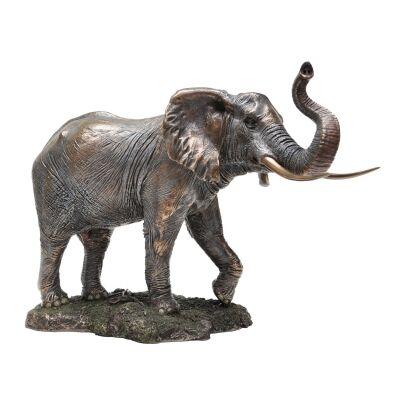 Veronese Cold Cast Bronze Coated Wild Life Figurine, Trunk Up Elephant