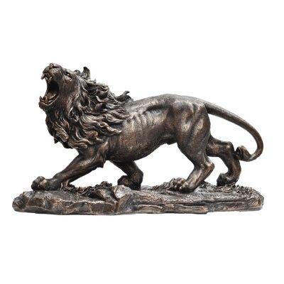 Cast Bronze Wild Life Figurine, Roaring Lion