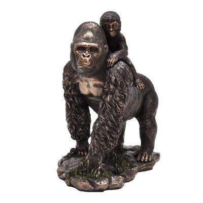 Cast Bronze Wild Life Figurine, Gorilla Mother and Child