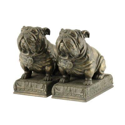 Cast Bronze Bulldog Bookend Set
