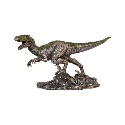 Cast Bronze Dinosaur Figurine, Velociraptor