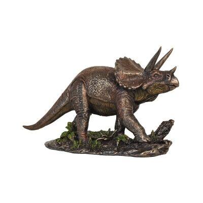 Cast Bronze Dinosaur Figurine, Triceratops