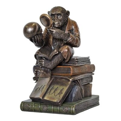 Veronese Cold Cast Bronze Coated The Ape Thinker Trinket Box