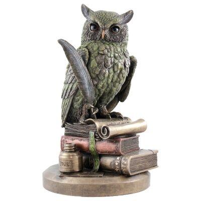 Veronese Cold Cast Bronze Coated Animal Figurine, Wise Owl