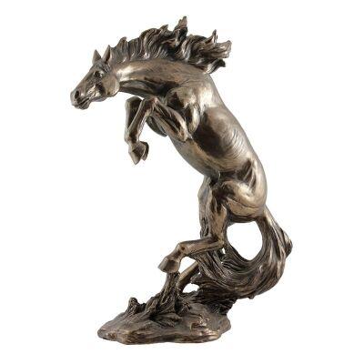 Cast Bronze Animal Figurine, Rearing Horse