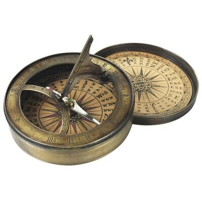Solid Brass Replica 18th Century Sundial and Comapss