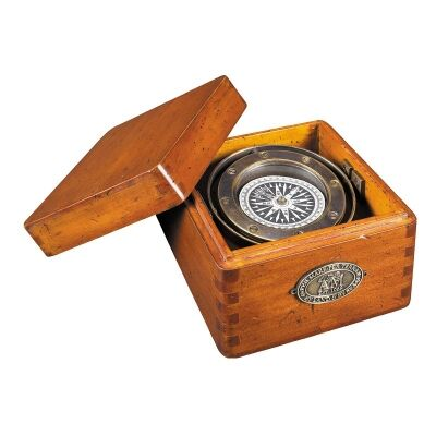 Lifeboat Solid Brass Compass in Timber Box