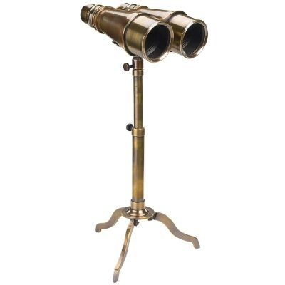 Victorian Solid Brass Binoculars with Tripod Stand