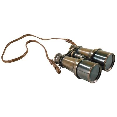 Victorian Solid Brass Binoculars with Leather Stap