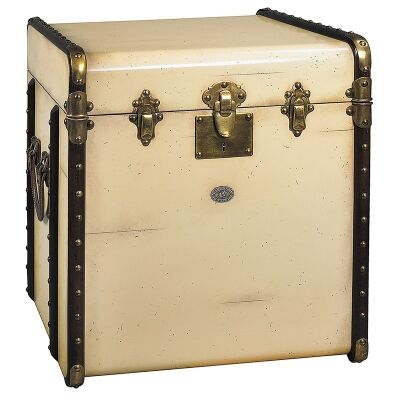 Stateroom Solid Timber Trunk Side Table, Ivory