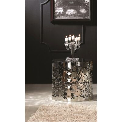 Ochota Glass & Stainless Steel Round Side Table