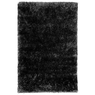 Angora Lux Wool & Viscose Shaggy Rug, 275x185cm, Black