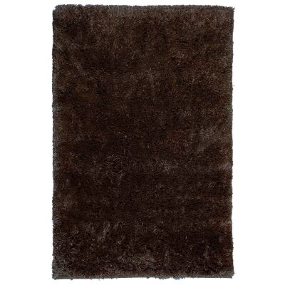 Angora Lux Wool & Viscose Shaggy Rug, 165x115cm, Cocoa
