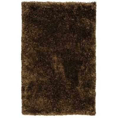 Angora Lux Wool & Viscose Shaggy Rug, 225x155cm, Earth