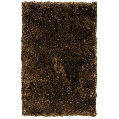 Angora Lux Wool & Viscose Shaggy Rug, 275x185cm, Earth