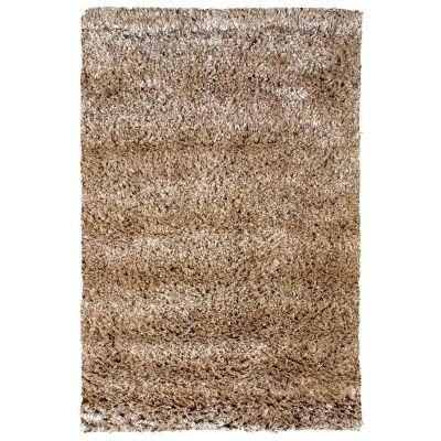 Angora Lux Wool & Viscose Shaggy Rug, 225x155cm, Sandstone
