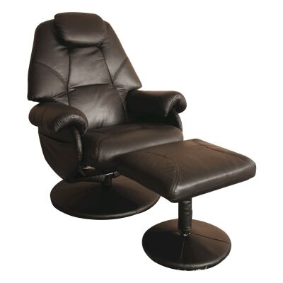 April Leather Recliner Lounge Armchair & Stool Set, Brown