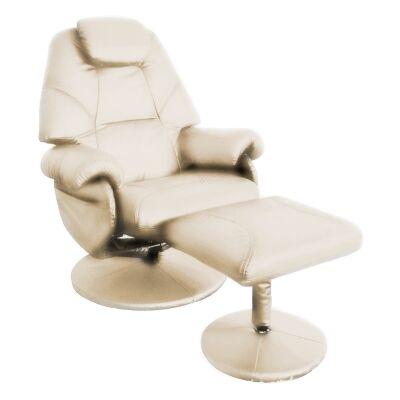 April Leather Recliner Lounge Armchair & Stool Set, Ivory
